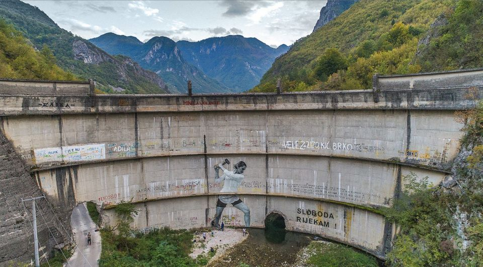 A 15 foot mural on the Idbar dam outside Sarajevo, Bosnia, symbolizing local opposition to dam...