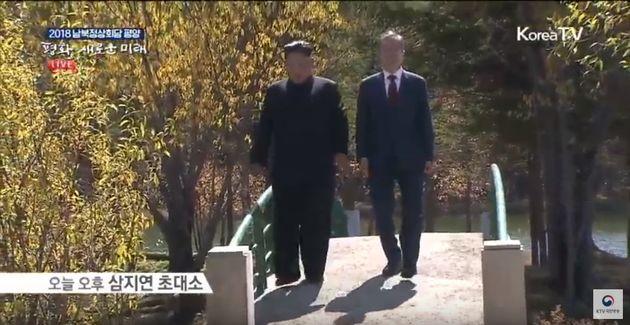 문재인 대통령과 김정은 위원장은 이번에도 둘이서만 산책을