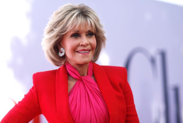 Jane Fonda poses at the premiere of her new movie