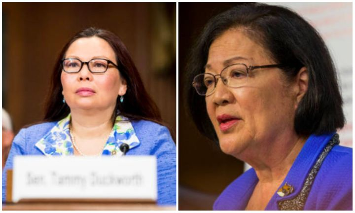 L: Sen. Tammy Duckworth (D-Ill.), R: Sen. Mazie Hirono (D-Hawaii).