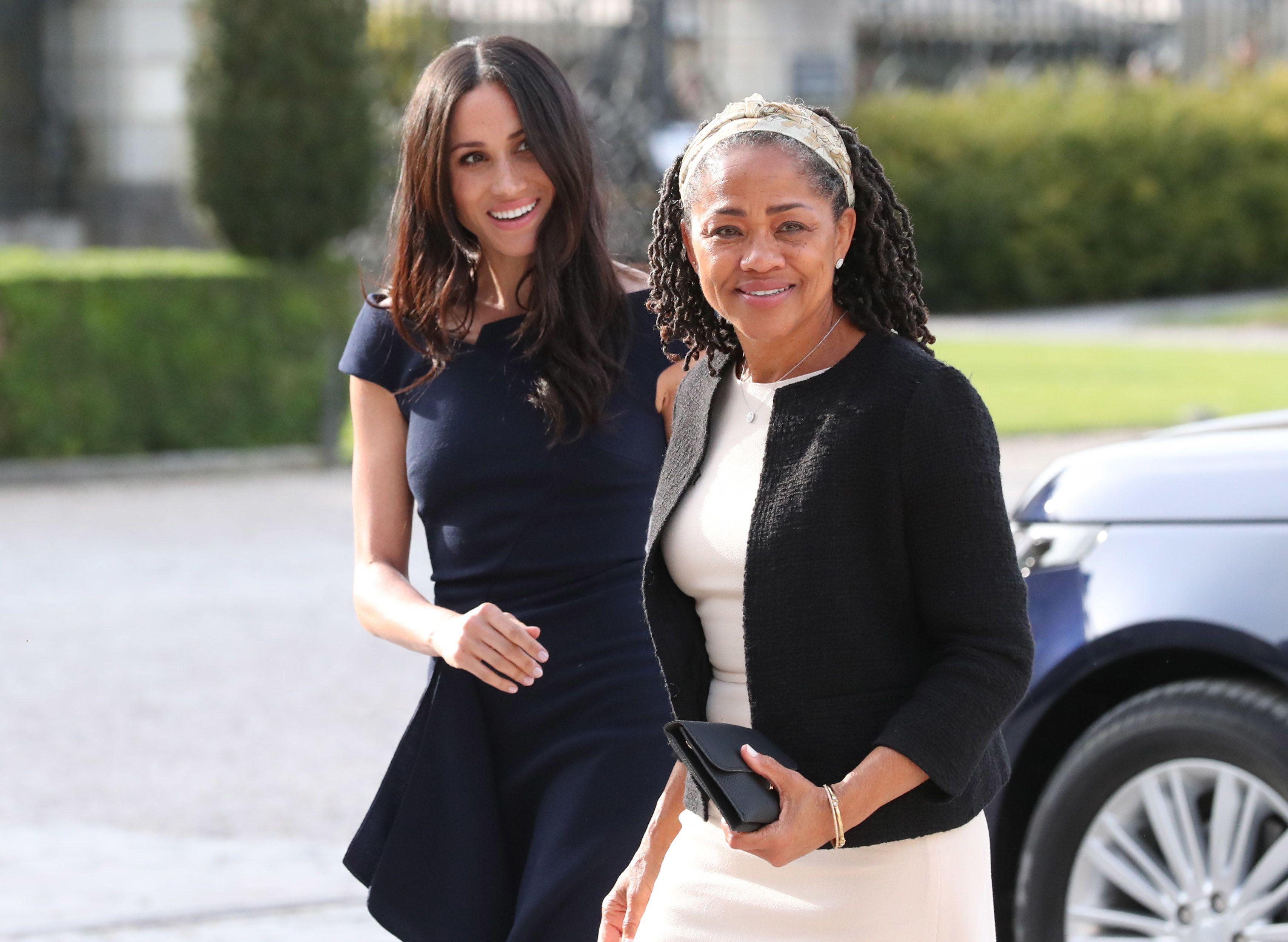 Meghan Markle and her mother, Doria Ragland, arrive at the National Trust's Cliveden Estate the night before the royal wedding on May 18. Ragland was on hand this week for the Duchess of Sussex's first hosting event as a royal.