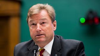 UNITED STATES - APRIL 26: Sen. Dean Heller, R-Nev., makes a statement in opposition to using Yucca Mountain as a nuclear waste disposal site during the  House Committee on Energy and Commerce Subcommittee on Environment hearing on the 'Nuclear Waste Policy Amendments Act Of 2017' on Wednesday, April 26, 2017. (Photo By Bill Clark/CQ Roll Call)