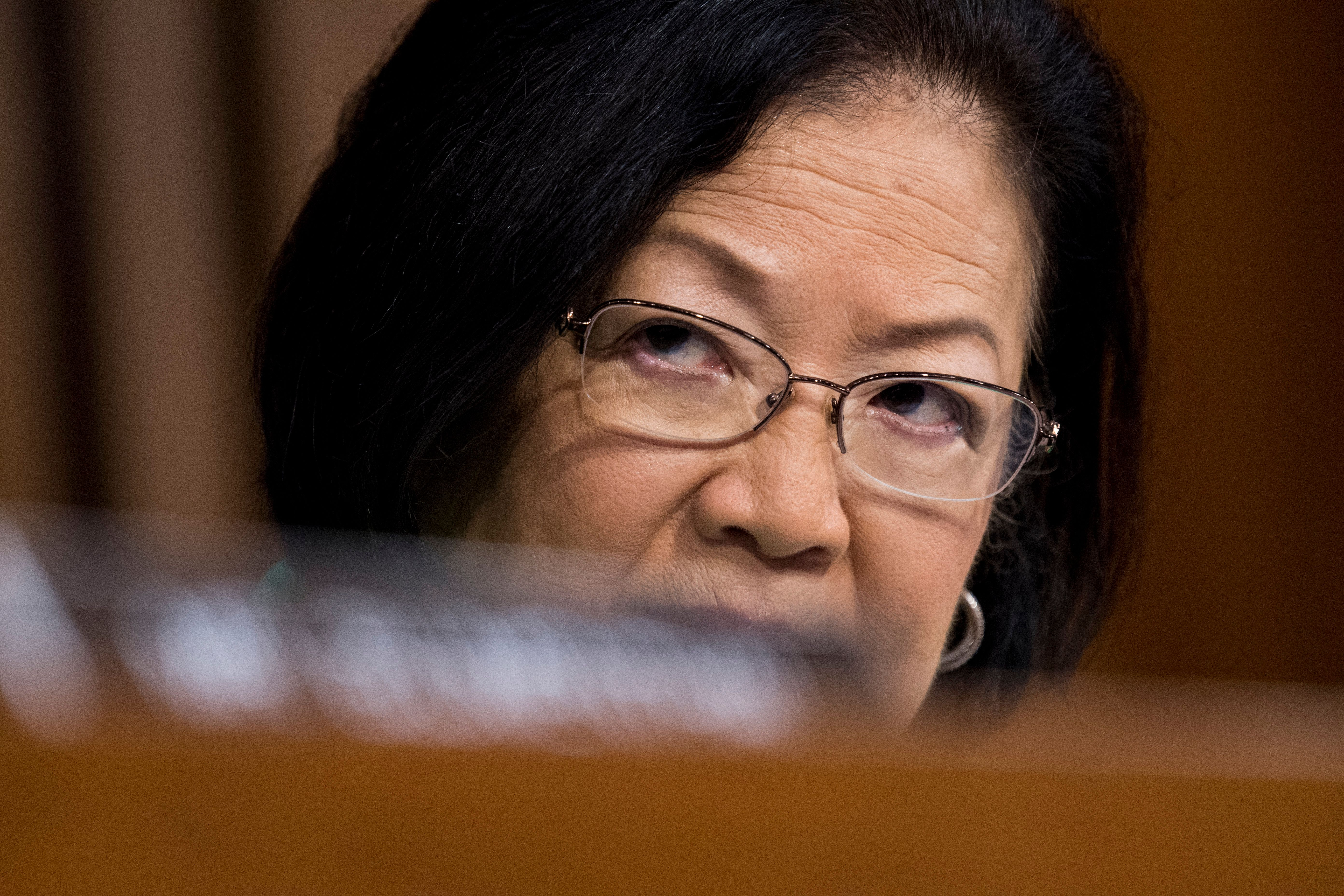 Sen. Mazie Hirono listens during the start of the third day of Brett Kavanaugh's Supreme Court confirmation hearing on Sept.