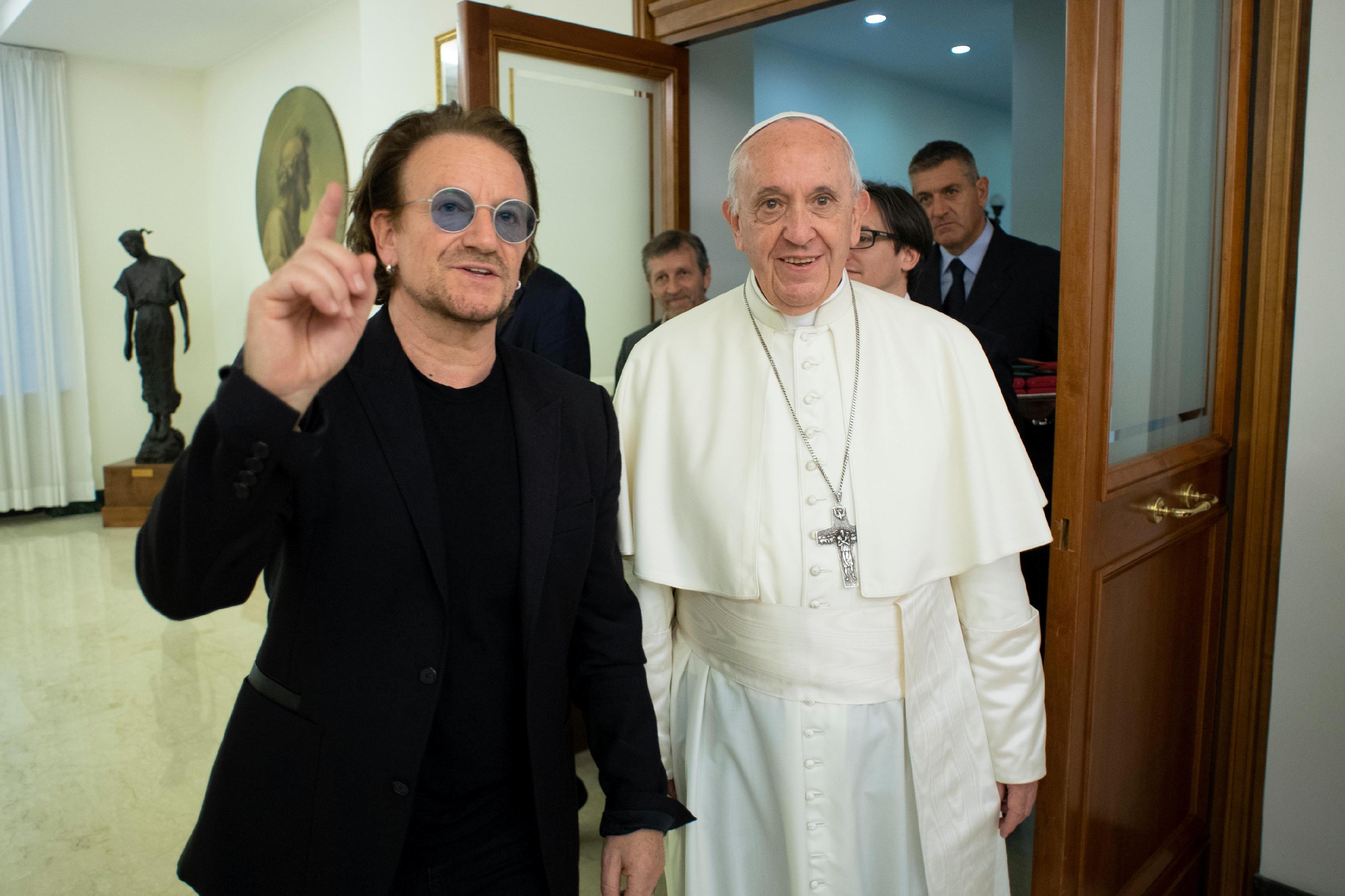 U2 frontman Bono met Pope Francis at the Vatican on Sept. 19.