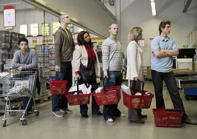 An der Supermarktkasse kann es ohne Warentrenner zu Missverständnissen