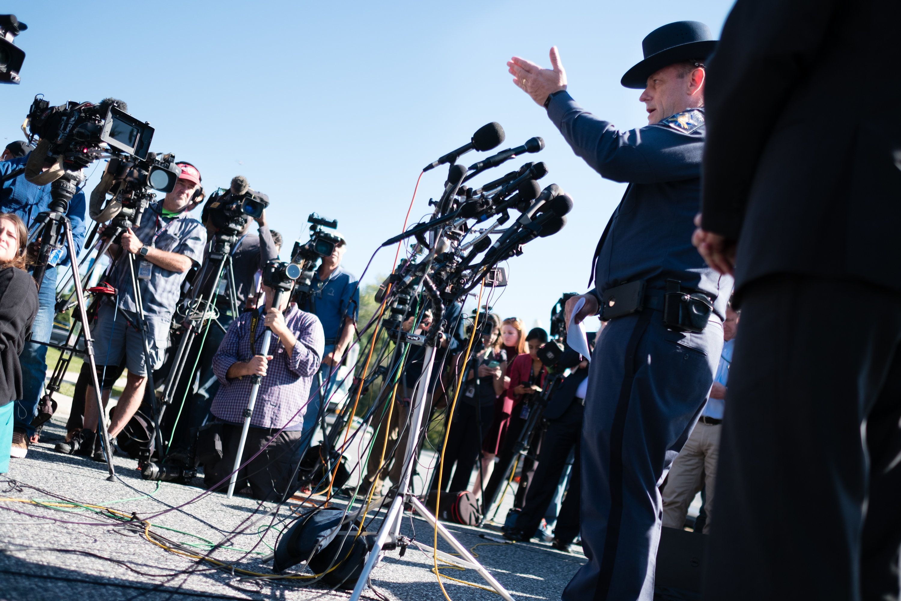 EDGEWOOD, MD - OCTOBER 18:  Jeffrey R. Gahler, Sheriff, Harford County, Maryland speaks to the media at a 2pm press conference. A gunman opened fire at an Edgewood Maryland office park on Wednesday morning, October 18, 2017, killing three co-workers and wounding two others. Harford County Sheriff Jeffrey Gahler identified the shooter as 37-year-old Radee Labeeb Prince. He said Prince opened fire with a handgun and then fled the Emmorton Business Park in Edgewood. (Photo by Sarah L. Voisin/The Washington Post via Getty Images)
