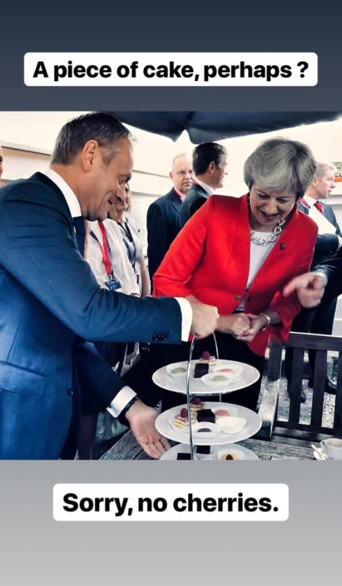 Donald Tusk Mocks Theresa May Over Brexit With Instagram Post About Cake And