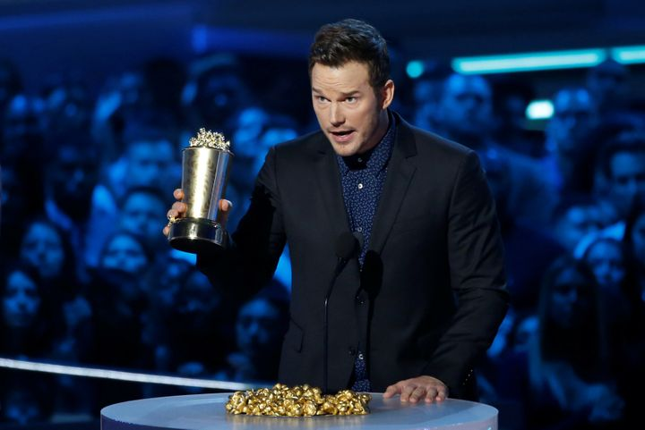 Chris Pratt accepts the Generation Award at the MTV Movie & TV Awards in Santa Monica, California, on June 16, 2018.