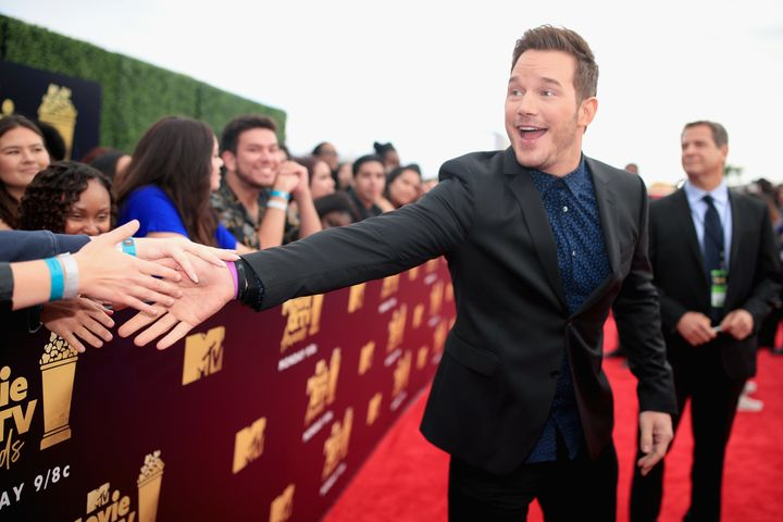 Pratt greets fans at the 2018 MTV Movie & TV Awards.