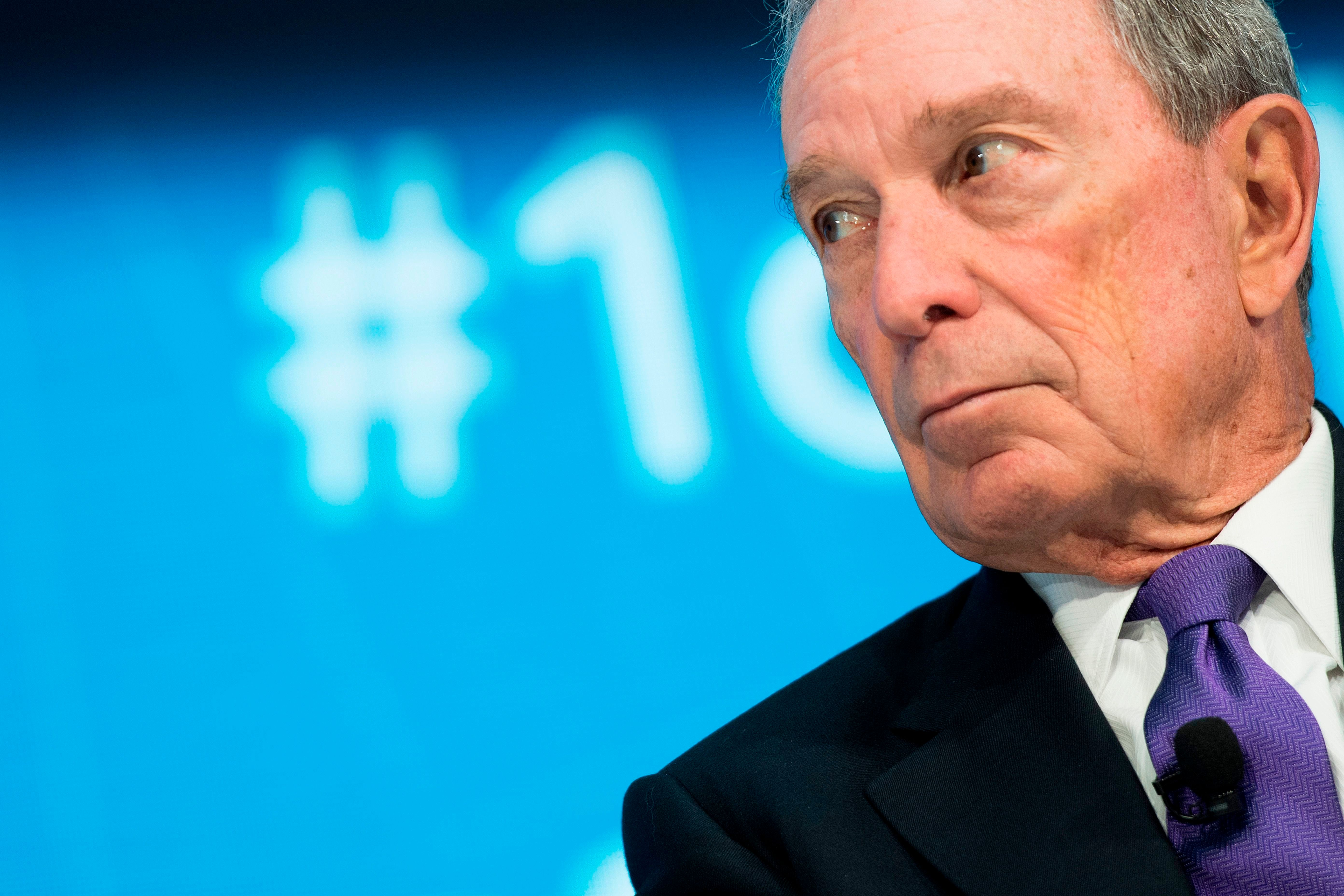 Former New York City Mayor Mike Bloomberg speaks at the International Monetary Fundin Washington, D.C., on April 19, 20