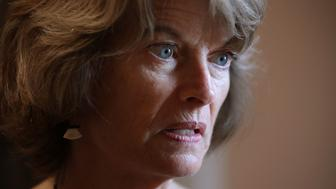 WASHINGTON, DC - JULY 31:  Sen. Lisa Murkowski (R-AK) (C) is interviewed  following the GOP weekly policy luncheon at the U.S. Capitol July 31, 2018 in Washington, DC. Senators are reacting to President Donald Trump's threat to shut down the government if he does not get funding for a U.S.-Mexico border wall.  (Photo by Chip Somodevilla/Getty Images)