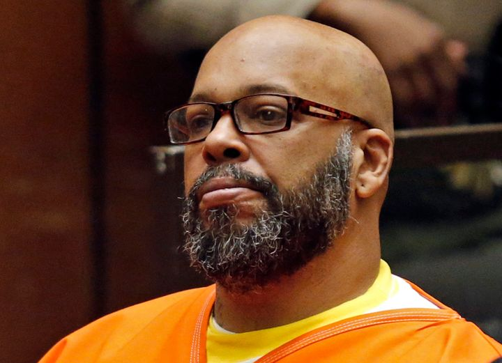 "In this July 7, 2015, file photo, Marion Hugh ""Suge"" Knight sits for a hearing in his murder case in Superior Court in Los An"