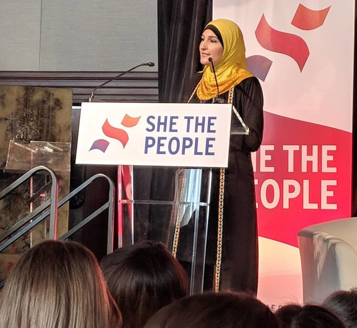 Linda Sarsour, a She the People organizer, addresses the summit in San Francisco on Sept. 20.