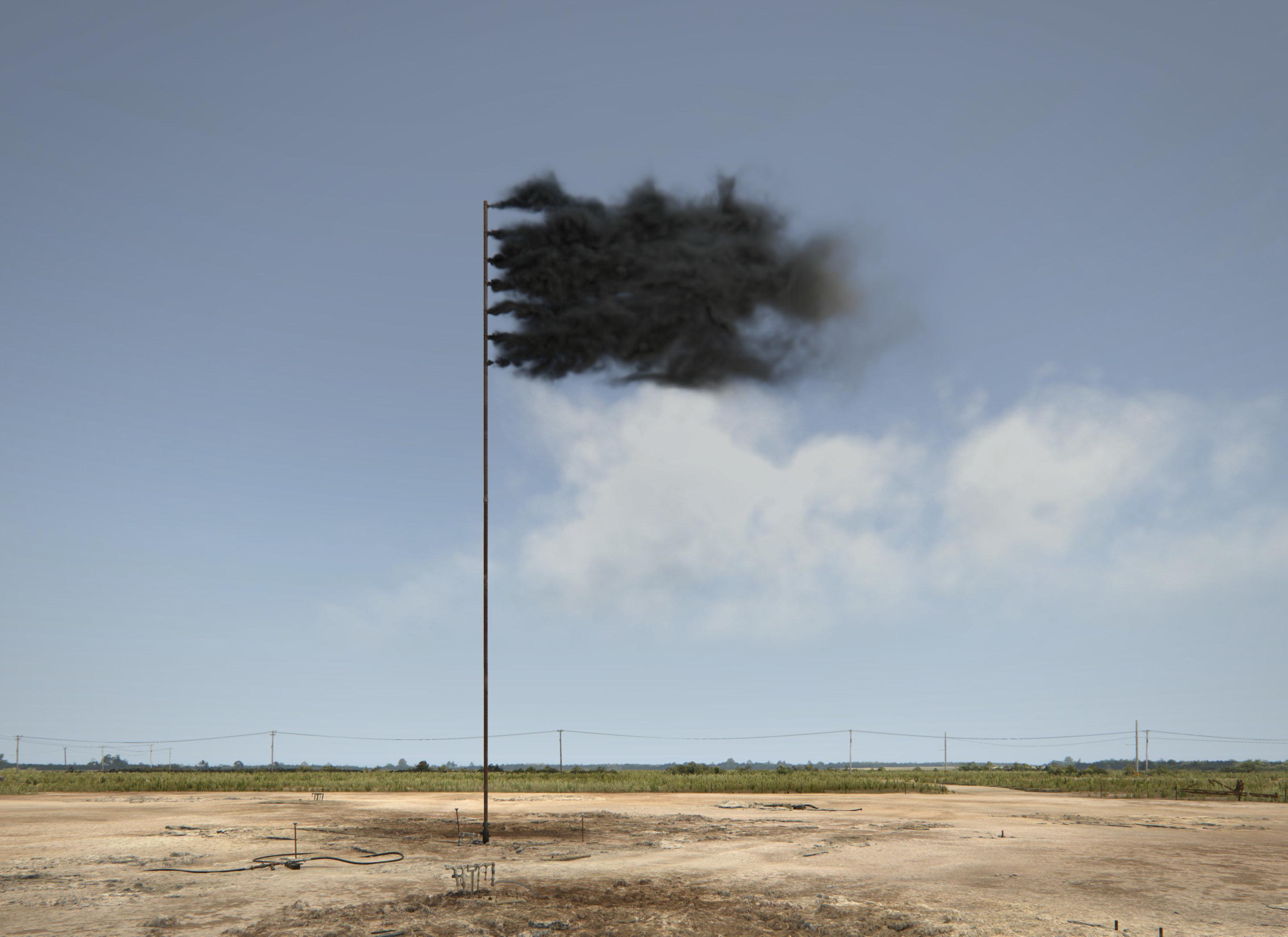 Western Flag (Spindletop, Texas 2017), a virtual art installation by Irish artist John Gerrard, uses a haunting image to symb