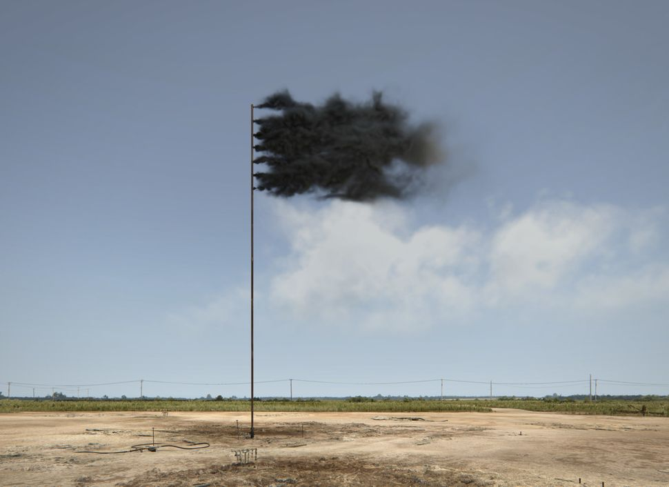 Western Flag (Spindletop, Texas 2017), a virtual art installation by Irish artist John Gerrard, uses a haunting image to symb