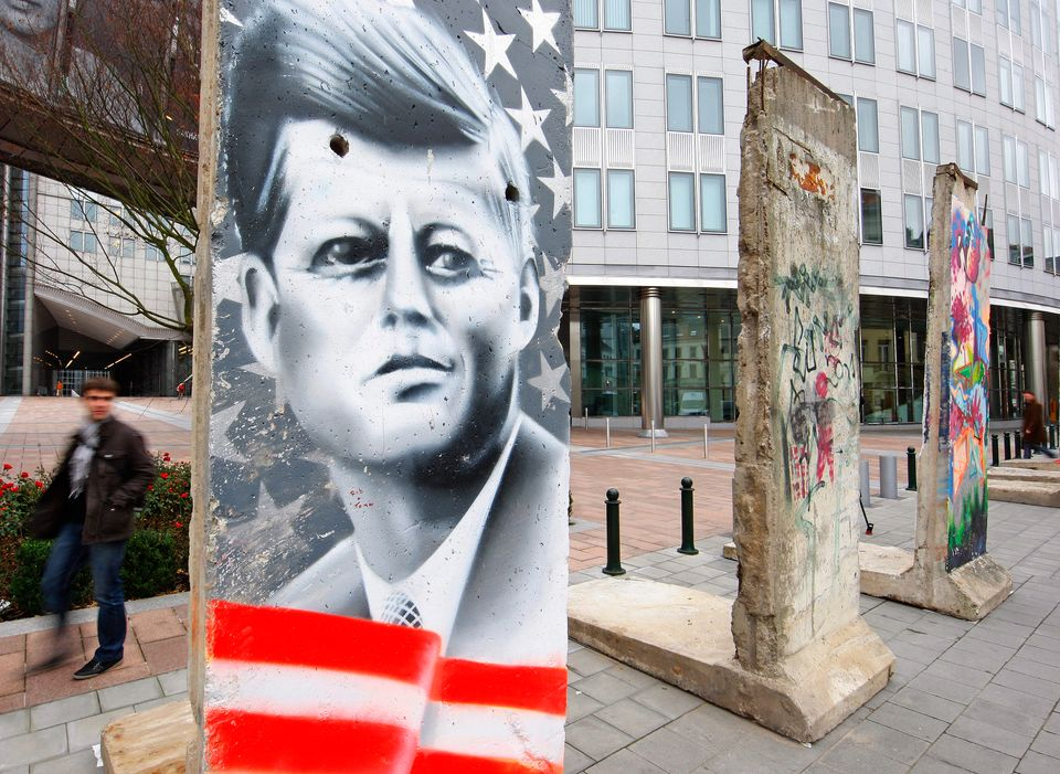 Segments of the original Berlin Wall are displayed outside the European Parliament in Brussels November...