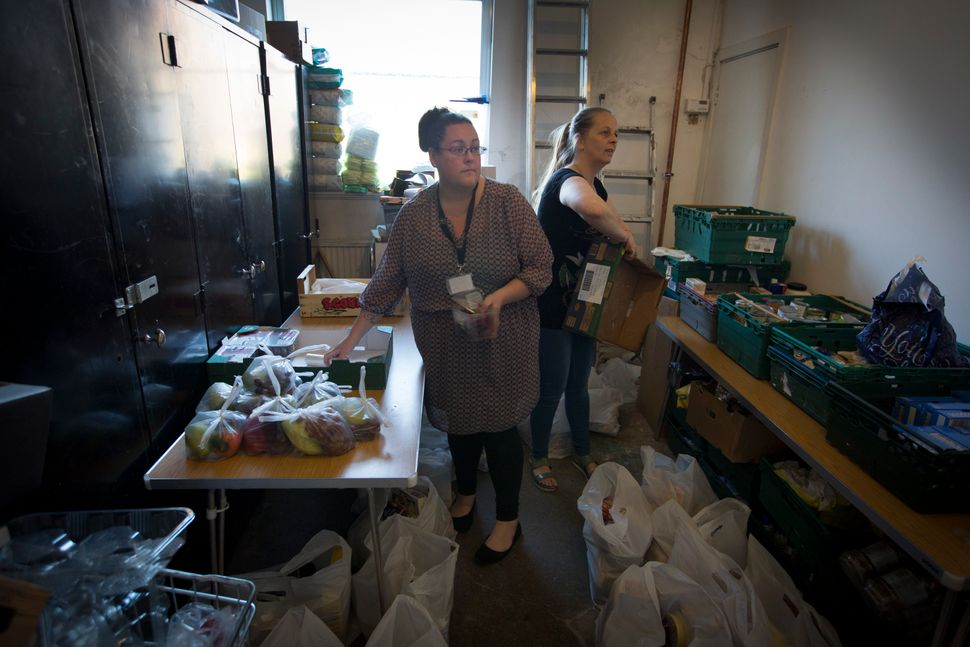 Volunteers at the Orchard food bank in Garston,