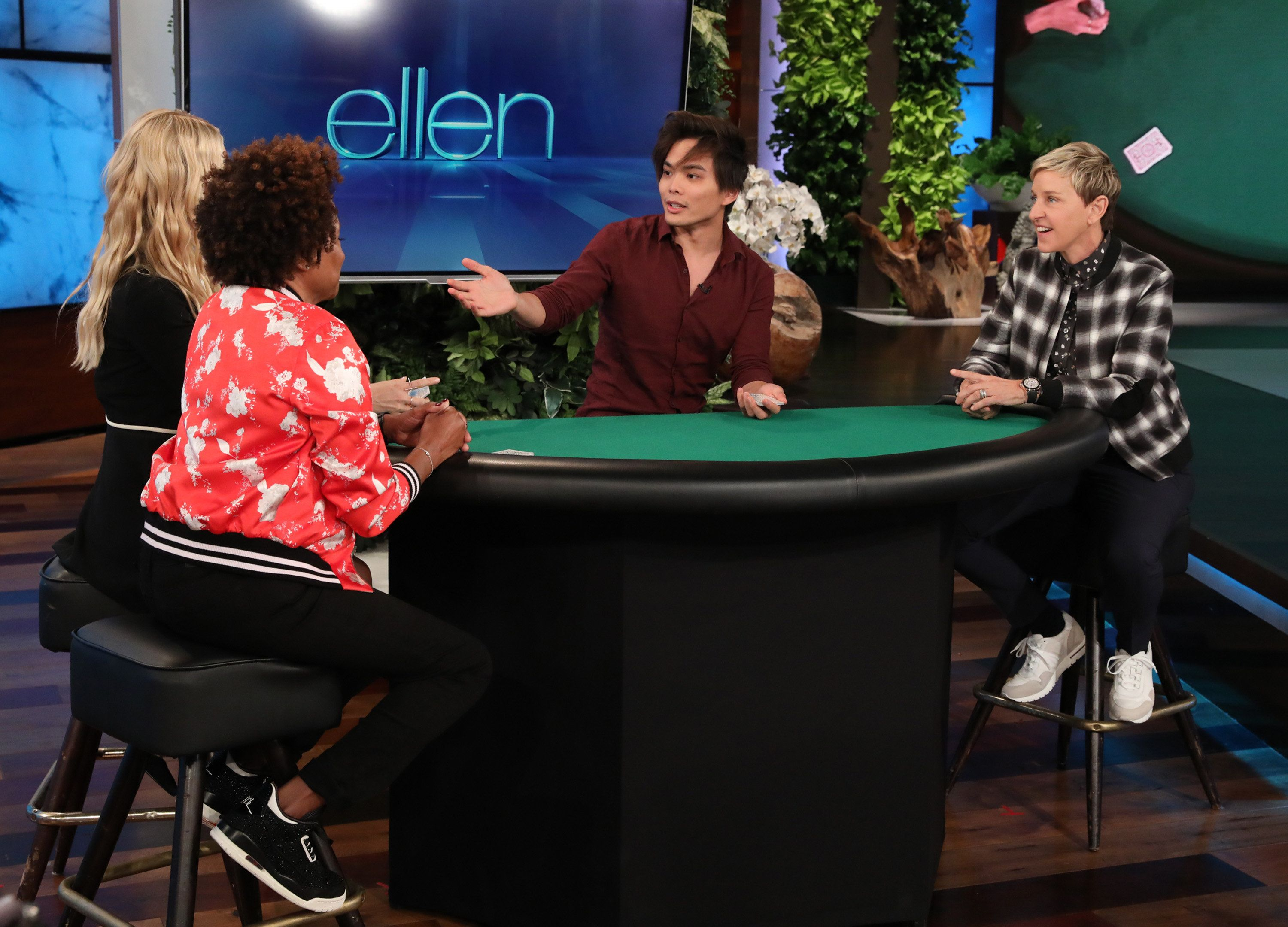 "In this photo released by Warner Bros., talk show host Ellen DeGeneres is seen during a taping of ""The Ellen DeGeneres Show"" at the Warner Bros. lot in Burbank, Calif. (Photo by Michael Rozman/Warner Bros.)"