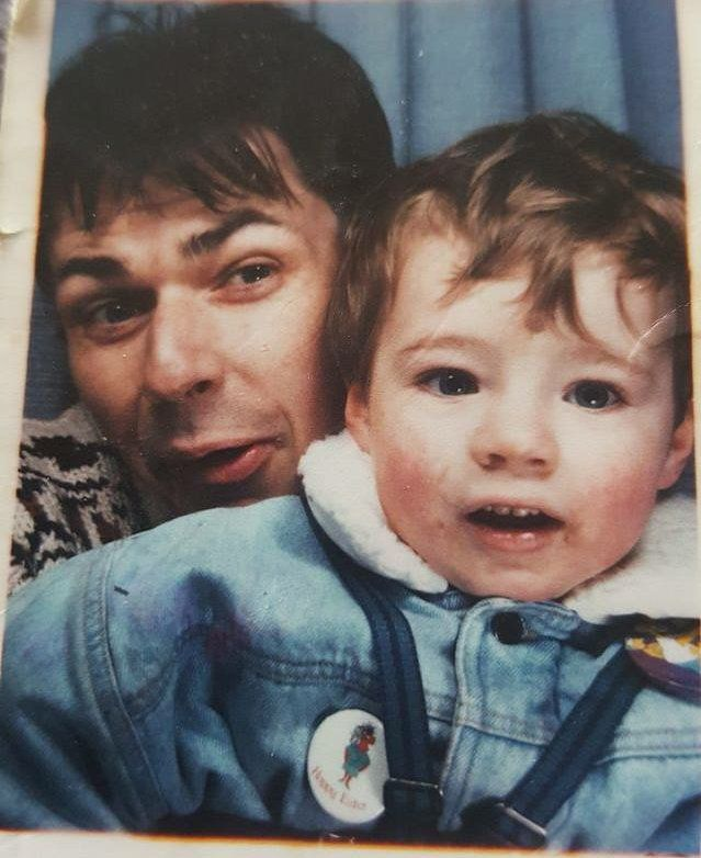 Jason Evans as a toddler with his father Jonathan