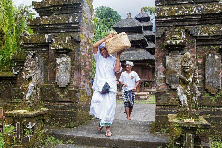 Pilgrims visiting Pura Luhur Batukaru, a Hindu temple in Bali, Indonesia.