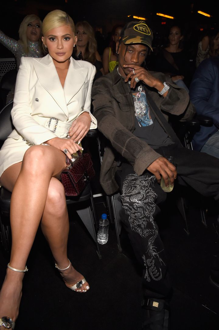 Kylie Jenner and Travis Scott, parents of Stormi, inside the 2018 MTV Video Music Awards at Radio City Music Hall.