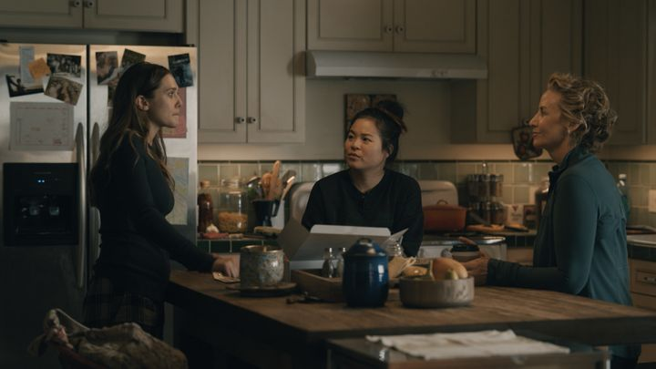 "Leigh, Jules and their mother, Amy (Janet McTeer), talk in the kitchen in ""Sorry for Your Loss."""