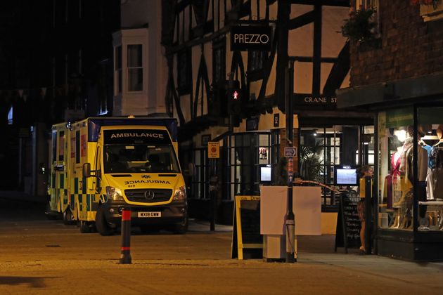Ambulances outside the Prezzo restaurant in Salisbury on Sunday