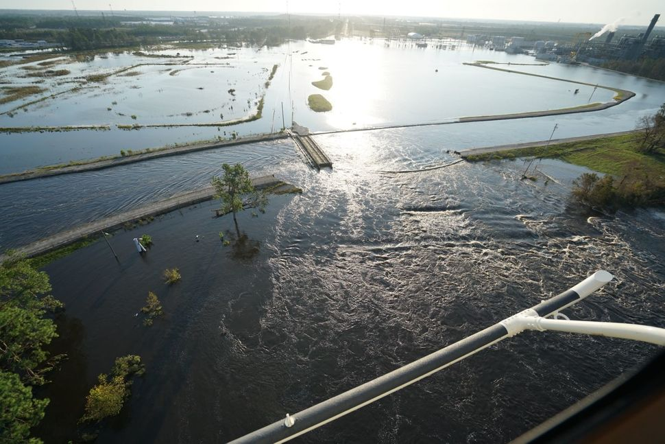 This image provided by Duke Energy shows Sutton Lake flowing into the Cape Fear River.