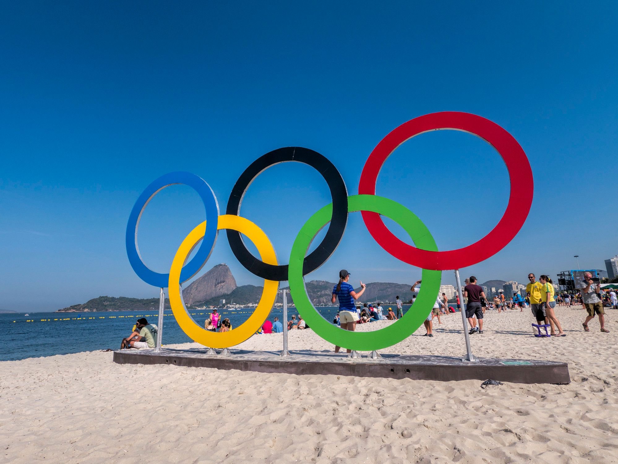 The Olympic rings at Flamengo Beach, where the Rio Games' sailing events took