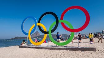 The Olympic Rings at Flamengo Beach where the sailing events are taking place. Sugar Loaf in the background.