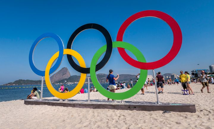 The Olympic rings at Flamengo Beach, where the Rio Games' sailing events took place.