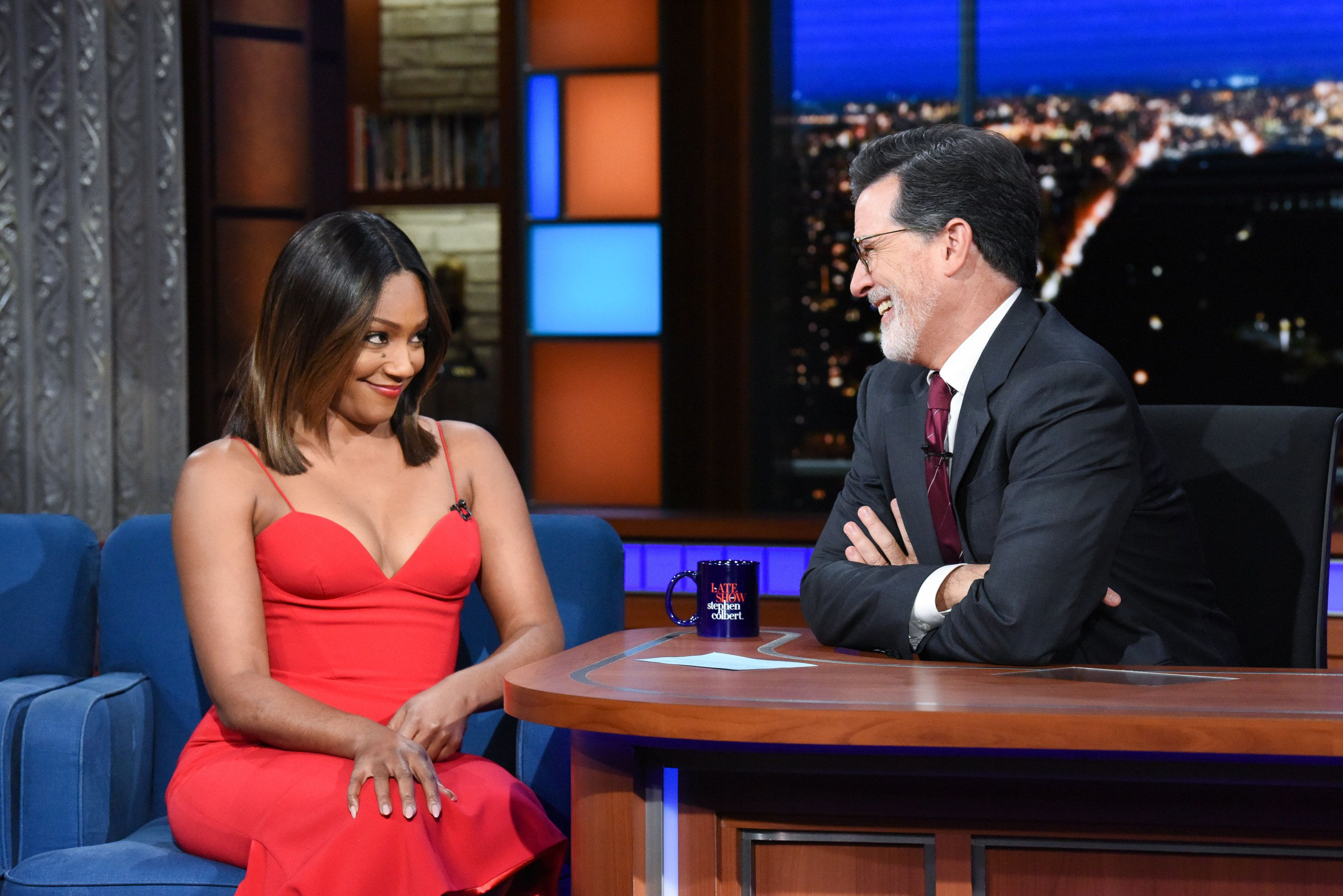 NEW YORK - SEPTEMBER 20: The Late Show with Stephen Colbert and guest Tiffany Haddish during Thursday's September 20, 2018 show. (Photo by Scott Kowalchyk/CBS via Getty Images)