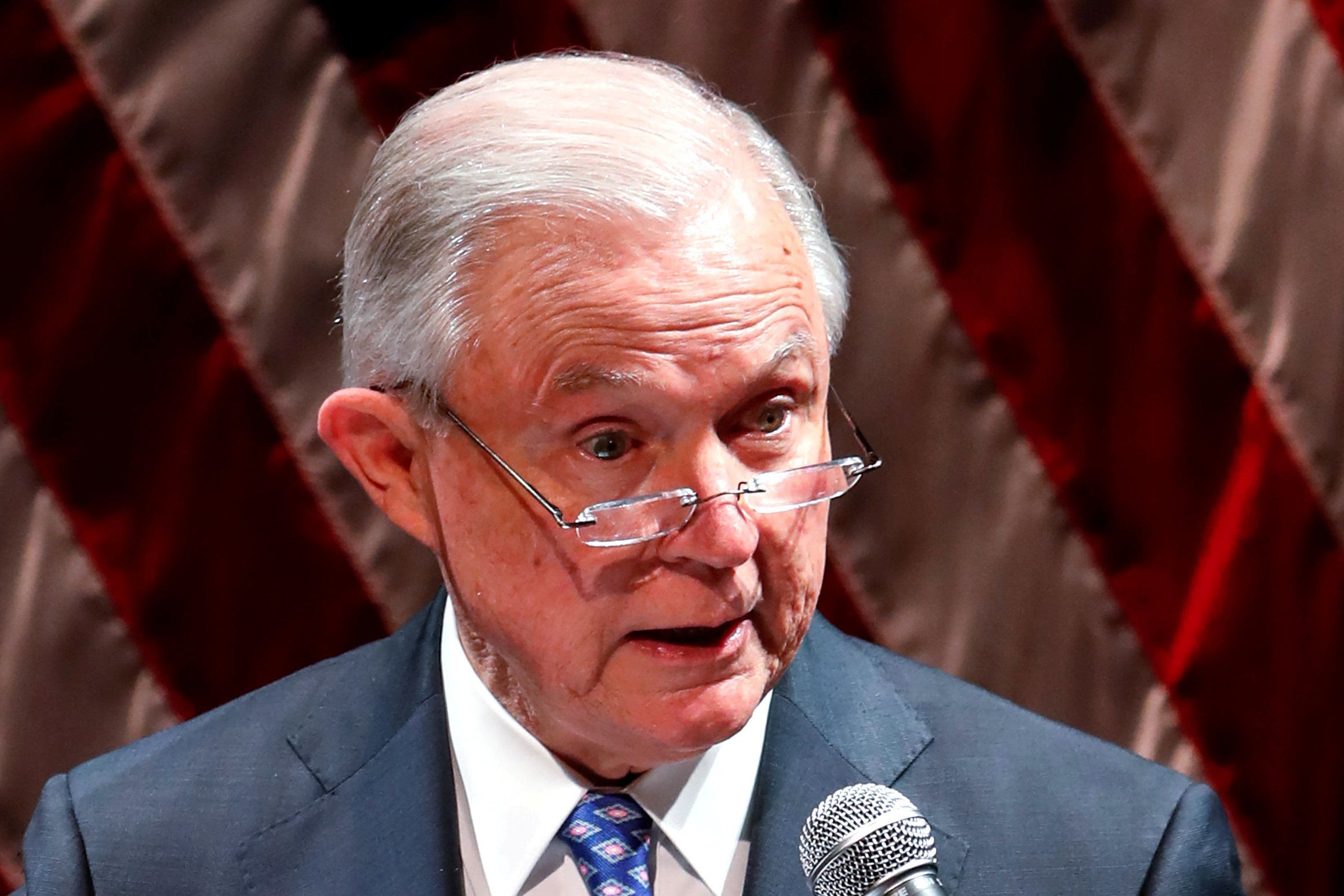 United States Attorney General Jeff Sessions speaks at Valor Survive and Thrive Conference in Waukegan, Illinois, U.S., September 19, 2018. Picture taken September 19, 2018. REUTERS/Kamil Krzaczynski