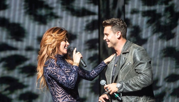 Bastian Baker (right) performs alongside Shanin Twain on the Now World Tour.