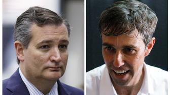 """FILE PHOTO: U.S. Senator Ted Cruz (R-TX) and U.S. Rep. Robert Francis """"Beto"""" O'Rourke (D-TX) are pictured in this combination photo in Houston, Texas, U.S., September 20, 2018 and in McAllen, Texas, U.S., August 18, 2018 respectively.   REUTERS/Loren Elliott/File Photos"""