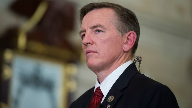 UNITED STATES - JANUARY 30: Rep. Paul Gosar, R-Ariz., is seen in the Capitol's Statuary Hall before President Donald Trump's State of the Union address to a joint session of Congress in the House chamber on January 30, 2018. (Photo By Tom Williams/CQ Roll Call)