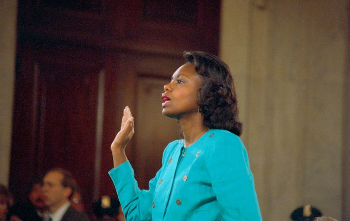 Law professor Anita Hill testified before a Senate Judiciary Committee composed entirely of white men in 1991.