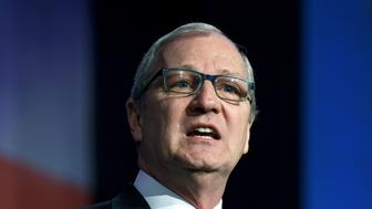 Representative Kevin Cramer (R-ND) speaks at the 2018 North Dakota Republican Party Convention in Grand Forks, North Dakota, U.S., April 7, 2018. Picture taken April 7, 2018. The party endorsed him for the U.S. Senate race against Democratic Sen. Heidi Heitkamp. REUTERS/Dan Koeck