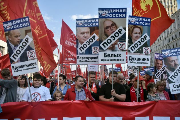 Des manifestants contre la réforme des pensions de retraite à Moscou, le 22 septembre
