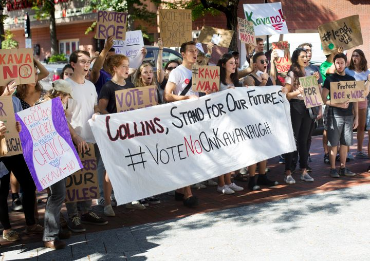 Students rally outside Sen. Susan Collins' office in Portland on Friday, Sept. 14, 2018.