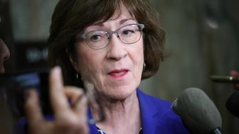 WASHINGTON, DC - SEPTEMBER 17:  Sen. Susan Collins (R-ME) answers questions from reporters on allegations against Supreme Court nominee Brett Kavanaugh on Capitol Hill September 17, 2018 in Washington, DC. Collins said it is important to get both sides of the story in the allegations, but indicated if Kavanaugh is found to have been untruthful it would be grounds for disqualifying his nomination.  (Photo by Win McNamee/Getty Images)