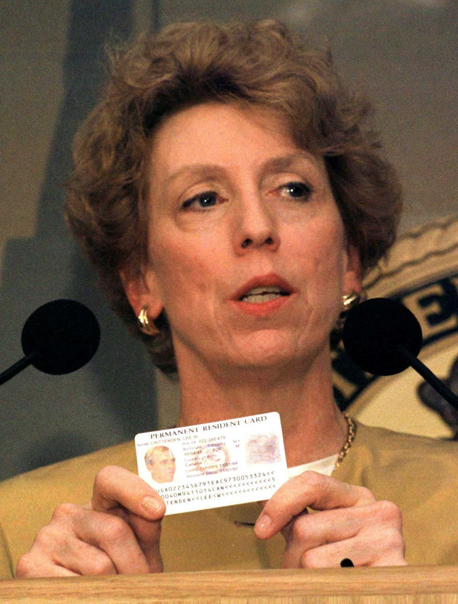"Immigration and Naturalization Service (INS) Deputy Commissioner Mary Ann Wyrsch announces the issuance of a new ""Green Card"" at a press conference in Washington, April 21. The new Green Cards are being issued to prevent fraud and to allow employers to comply with immigration law. The cards are issued to lawful permanent residents as proof of their authorization to live and work in the U.S.  REUTERS"