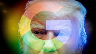 Google logos are seen in this photo illustration together with images of Donald Trump on September 5, 2018. (Photo by Jaap Arriens/NurPhoto via Getty Images)