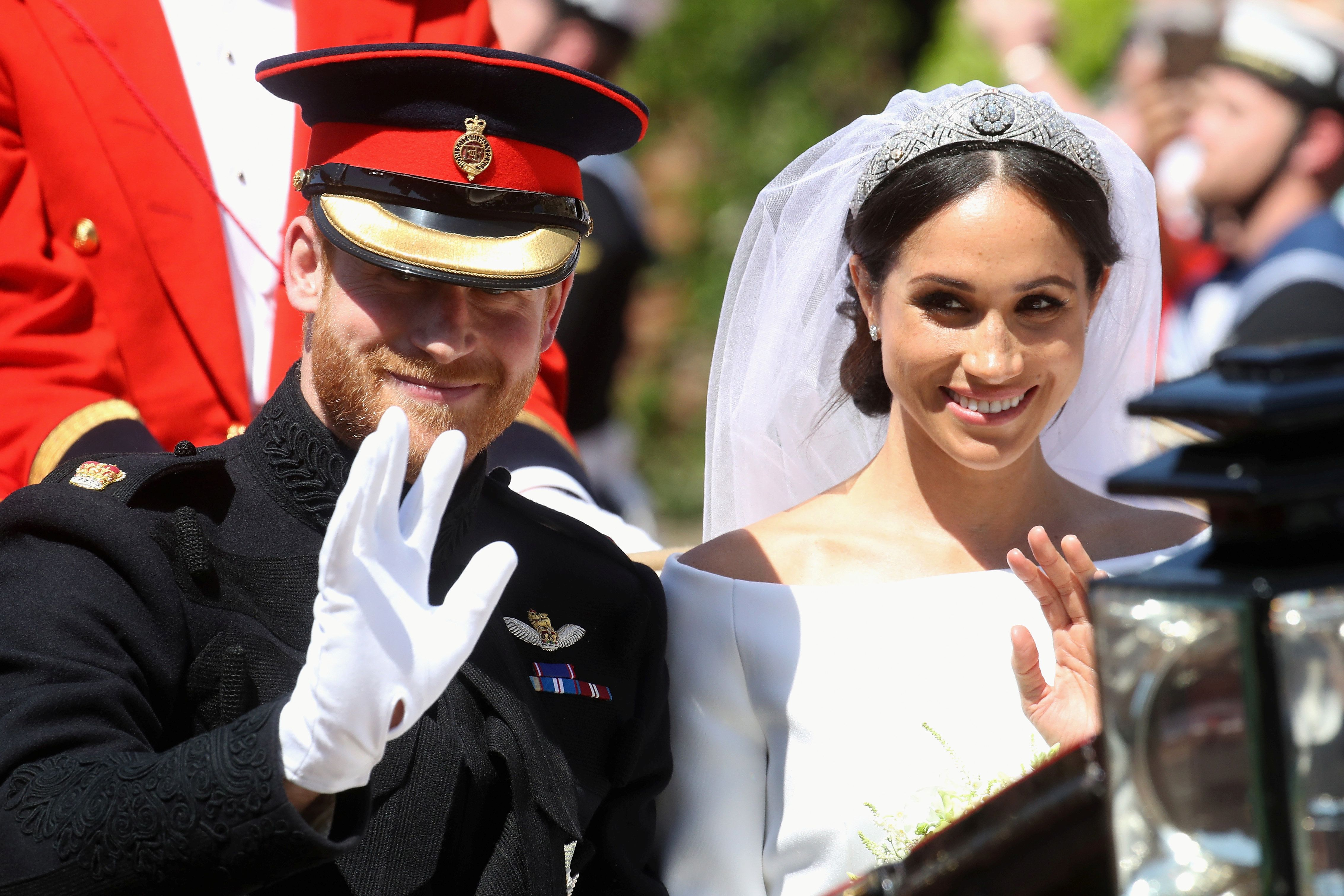 """<a  data-cke-saved-href=""""https://www.huffingtonpost.com/topic/meghan-markle"""" href=""""https://www.huffingtonpost.com/topic/meghan-markle"""" target=""""_blank"""" rel=""""noopener noreferrer""""></a>Meghan Markle's something borrowed and something blue traditions have been revealed in a new documentary."""
