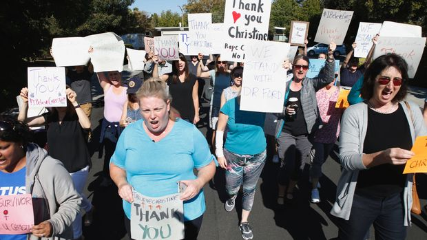 PALO ALTO, CA - SEPTEMBER 20: Supporters of Dr. Christine Blasey Ford march and chant in Palo Alto, Calif., Thursday, Sept. 20, 2018, in support of their neighbor who recently came forth with sexual assault allegations against Supreme Court nominee Brett Kavanaugh. (Karl Mondon/Digital First Media/The Mercury News via Getty Images)
