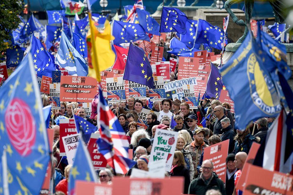 Demonstranten in Liverpool fordern eine Abstimmung über den Deal zwischen der EU und Großbritannien...