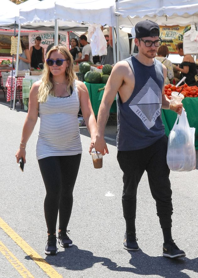 Hilary Duff and Matthew Koma are seen on July 15, 2018 in Los Angeles,