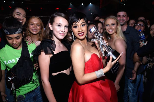Millie Bobby Brown and Cardi B at the 2018 MTV Video Music Awards in New York in