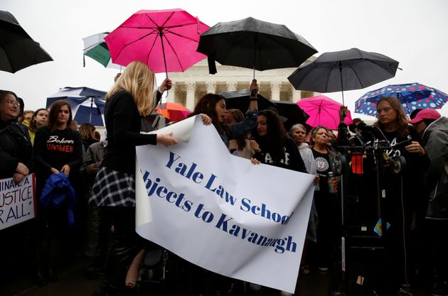 Yale Law students take part in a protest against U.S. Supreme Court nominee Brett Kavanaugh in front...
