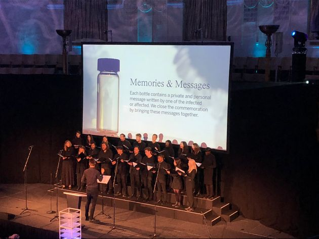 The London Contemporary Voices choir sings The Sound of Silence during a commemoration ceremony at the...